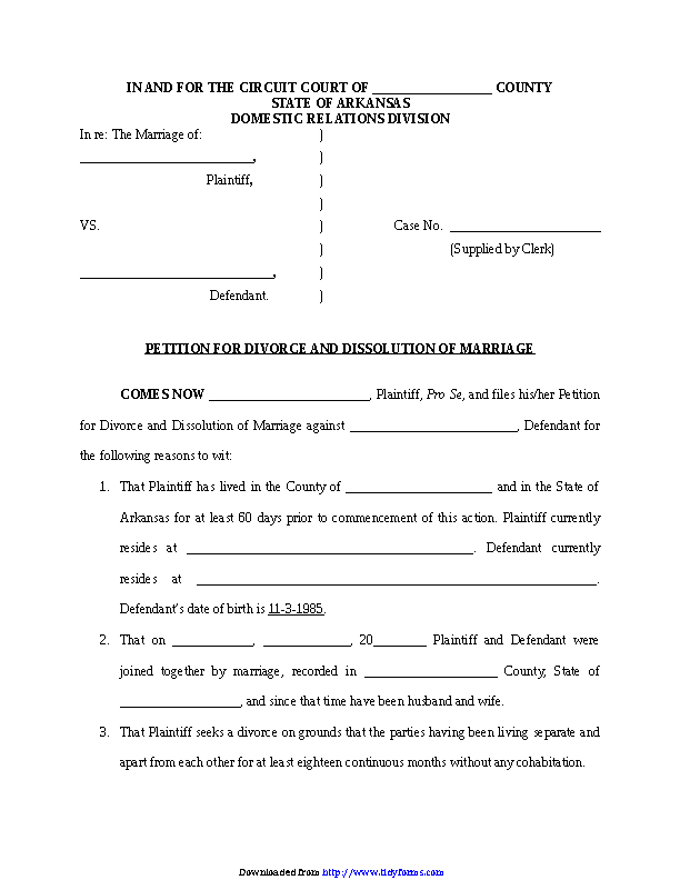 Arkansas Dissolution Of Marriage Form