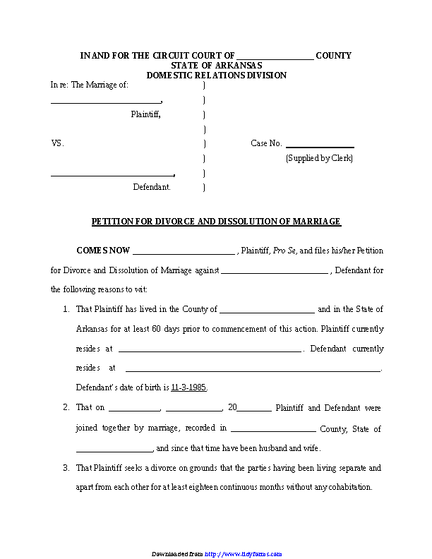 Arkansas Divorce Petition Form