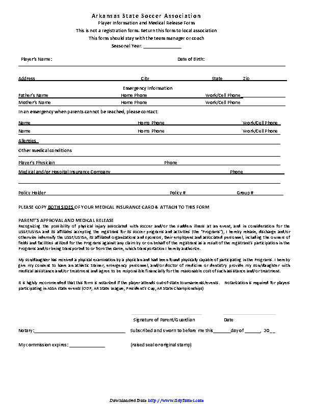 Arkansas Player Information And Medical Release Form