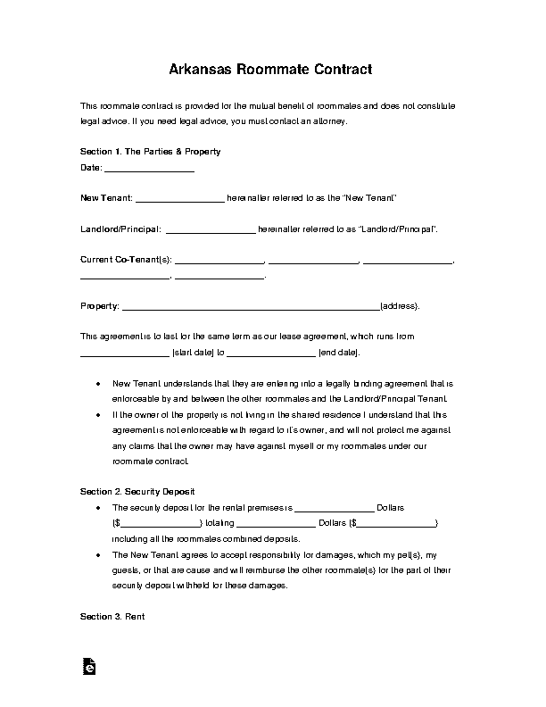 Arkansas Roommate Rental Agreement Form