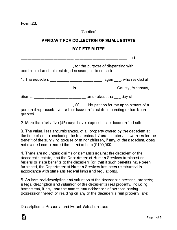 Arkansas Small Estate Affidavit Form