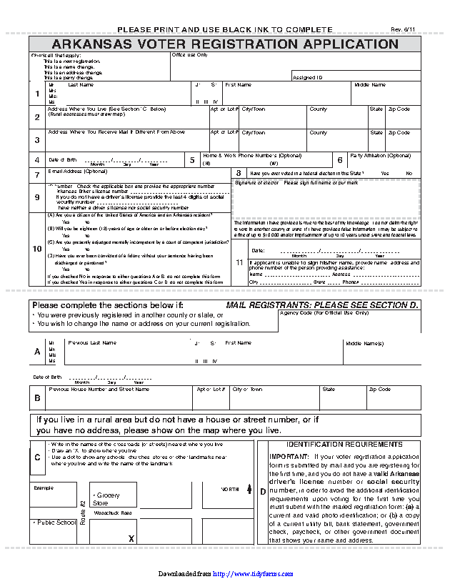 Arkansas Voter Registration Form