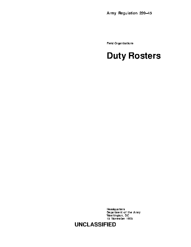 Army Duty Roster Template