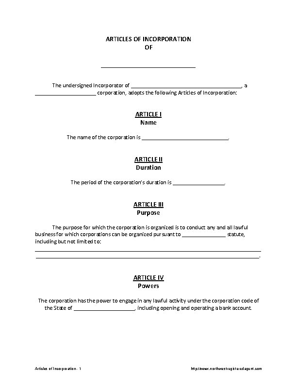 Articles Of Incorporation Template 1