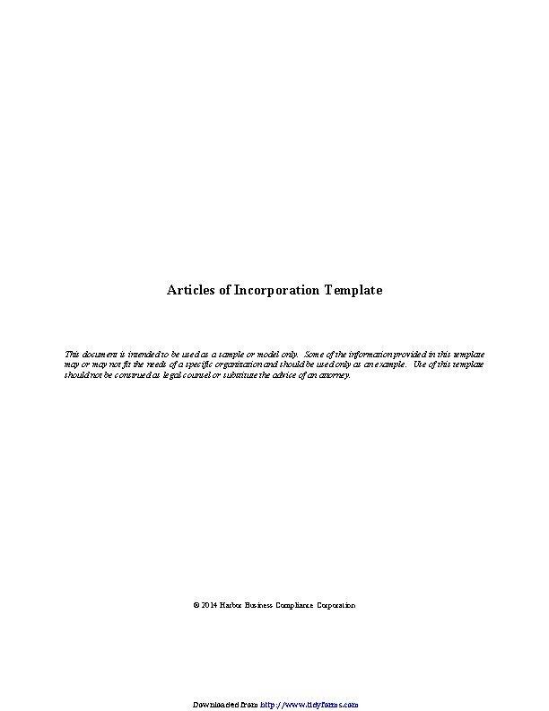 Articles Of Incorporation Template 2