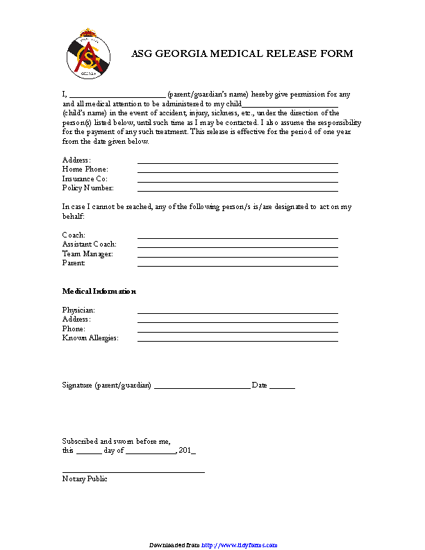 Asg Georgia Medical Release Form