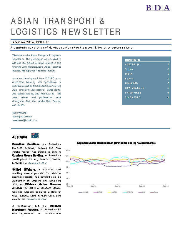 Asian Transport And Logistics Newsletter