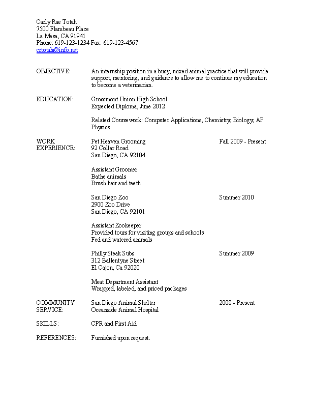 Assistant Zookeeper Resume