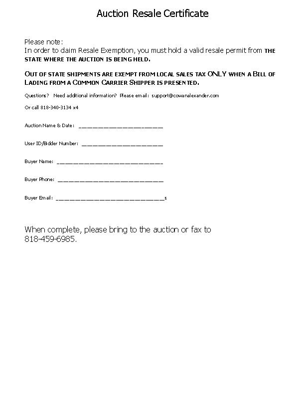 Auction Resale Certificate