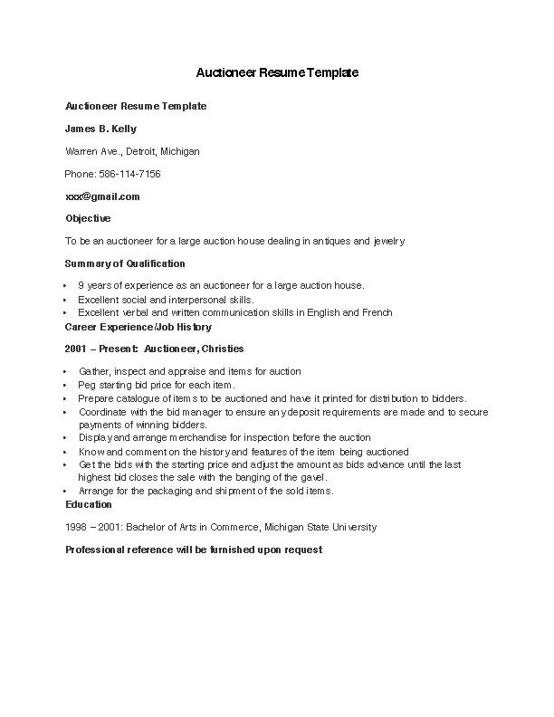Auctioneer Resume Template