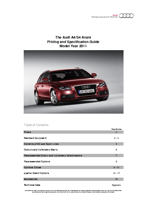 Audi Users Manual Sample