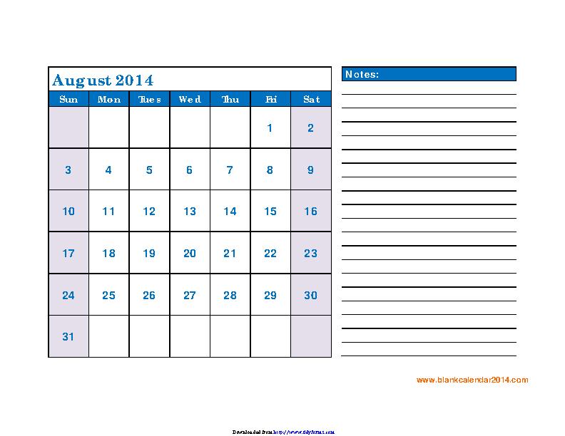 August 2014 Calendar 3