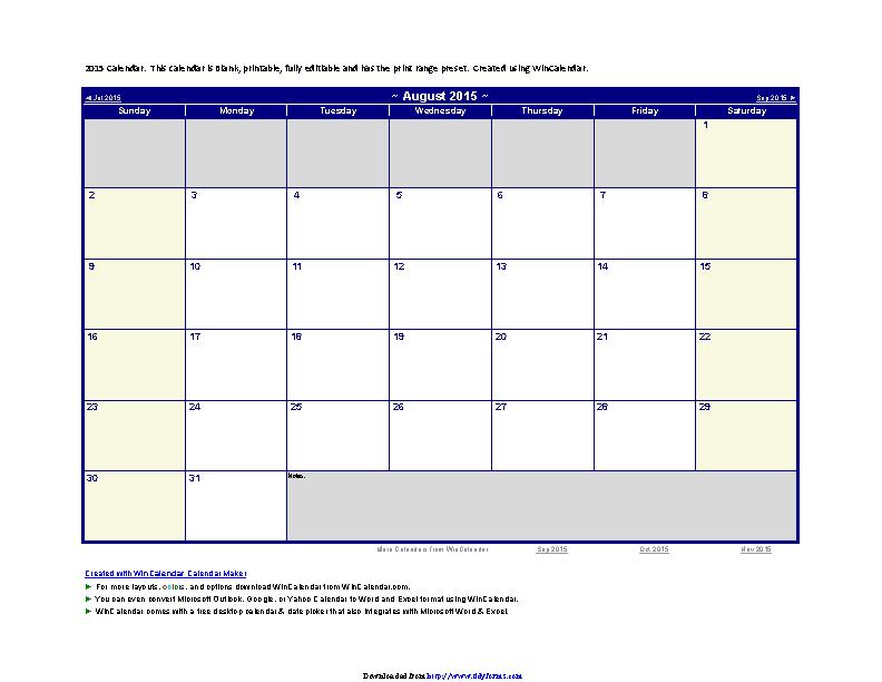 August 2015 Calendar