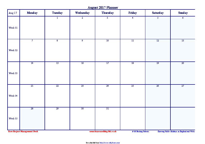 August 2017 Calendar 2