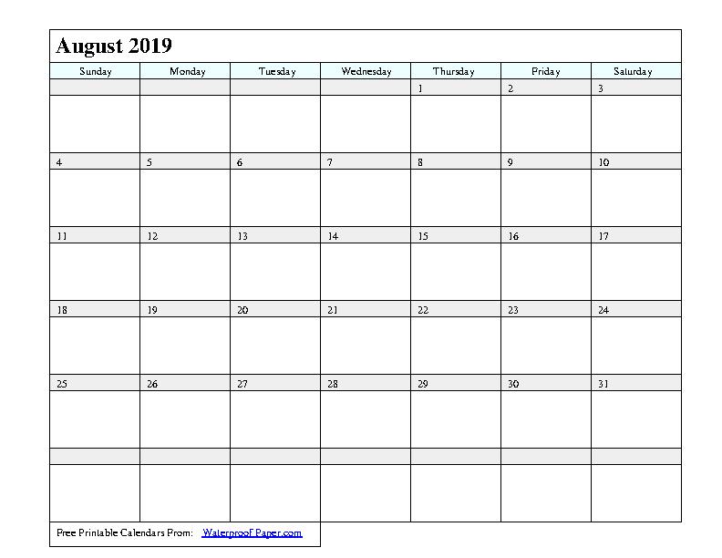 August 2019 Calendar 1