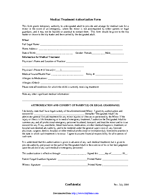 Authorization For Minors Medical Treatment