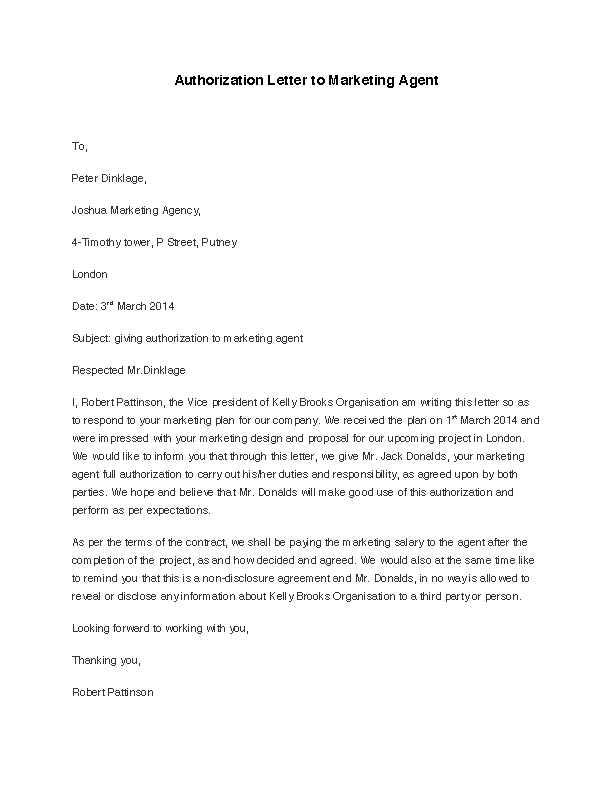 Authorization Letter To Marketing Agent