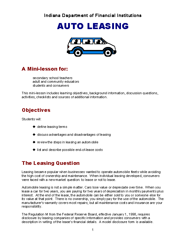 Auto Lease Agreement