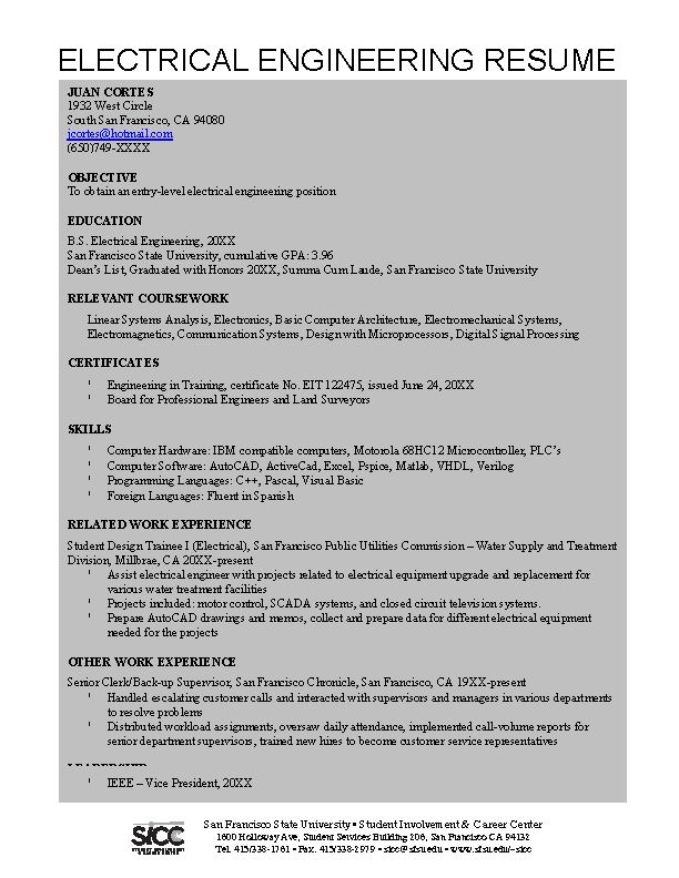 Autocad Electrical Engineer Resume