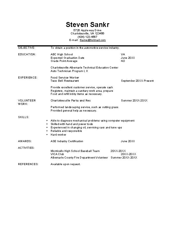 Automobile Technician Resume Template