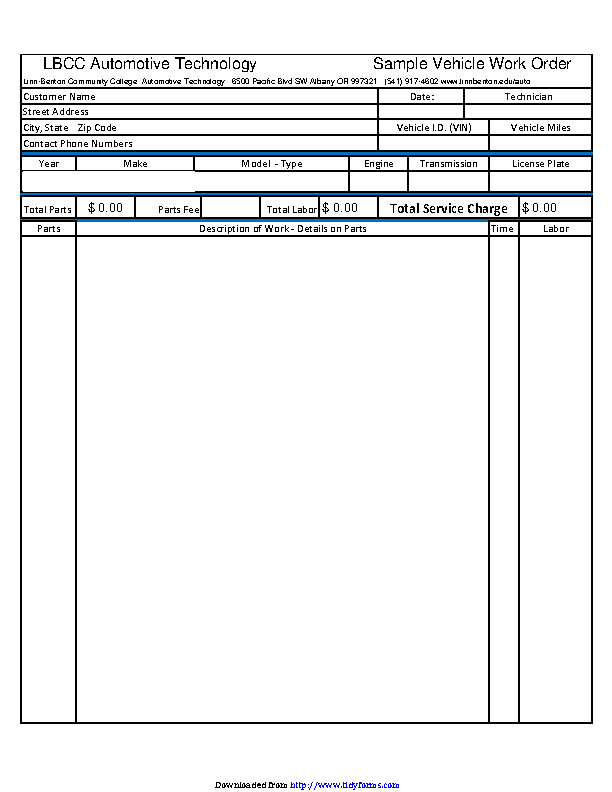 Automotive Work Order Template