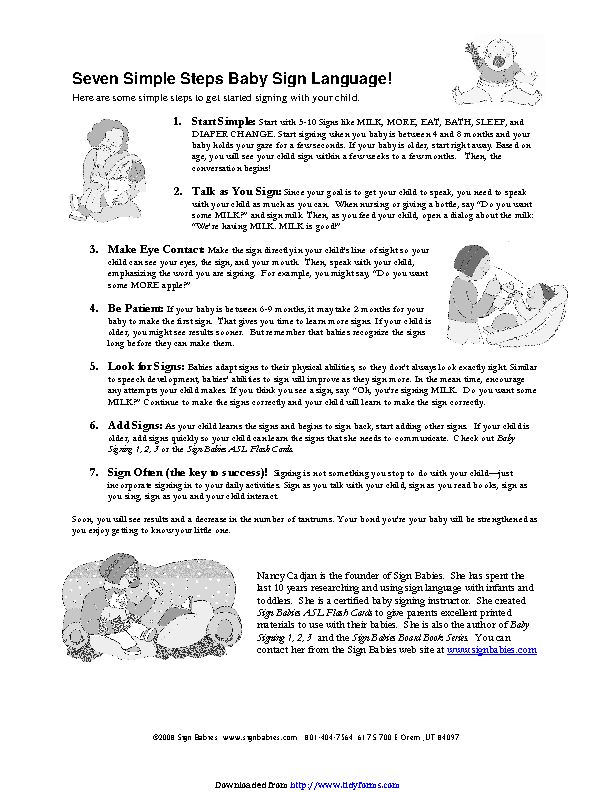 Baby Sign Language Chart 2