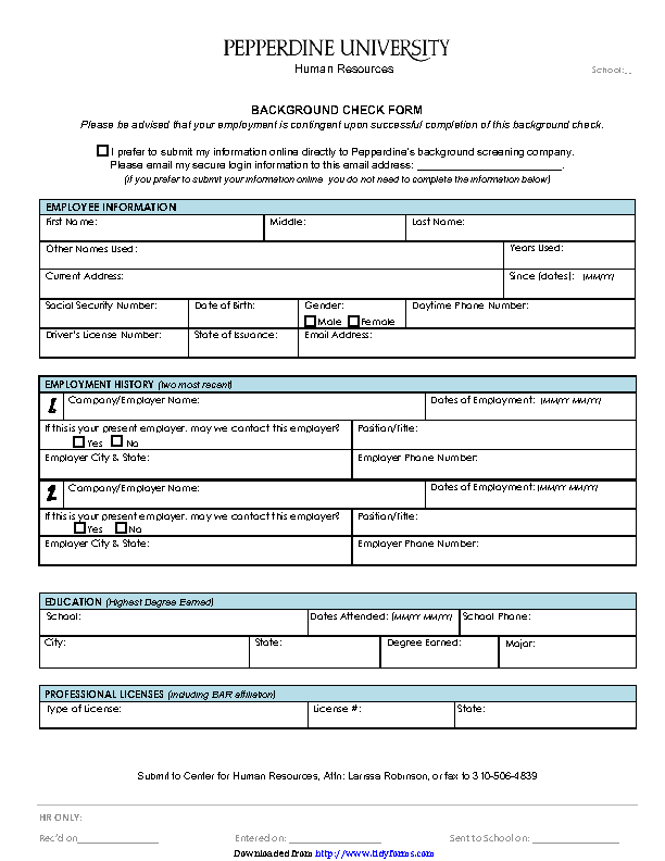 Background Check Form 2