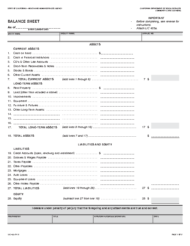Balance Sheet Template Free