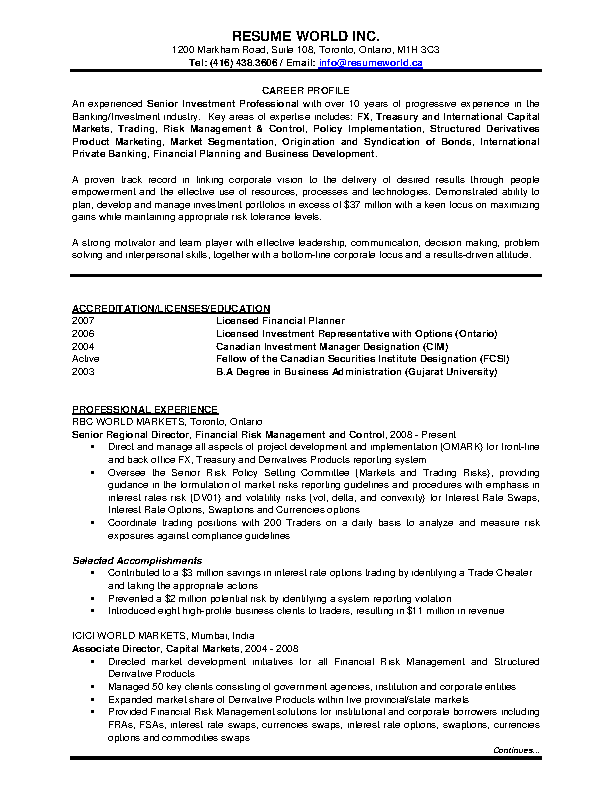 Banking Investment Resume Template