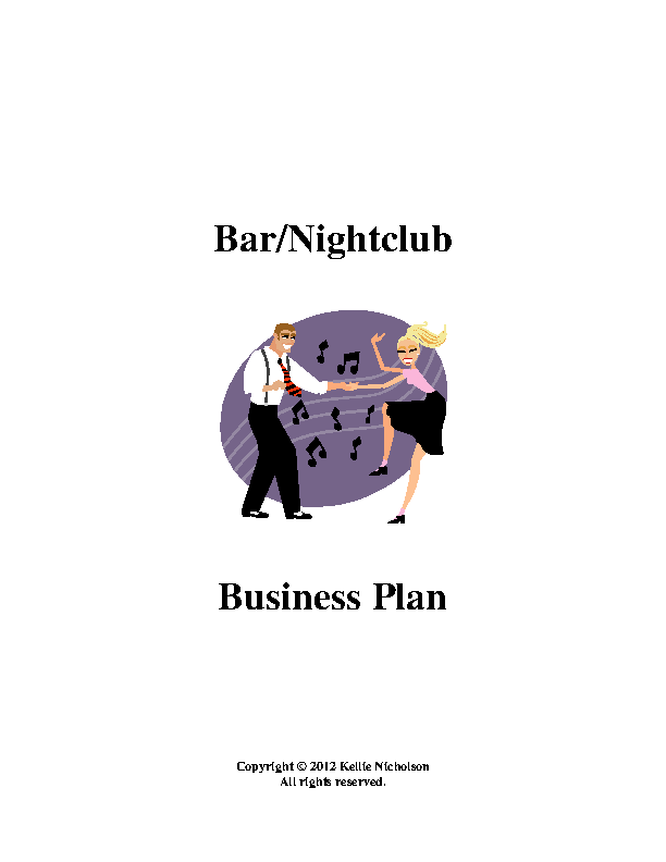 Bar Business Plan Template