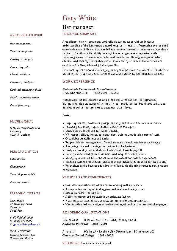Bar Manager Resume Template