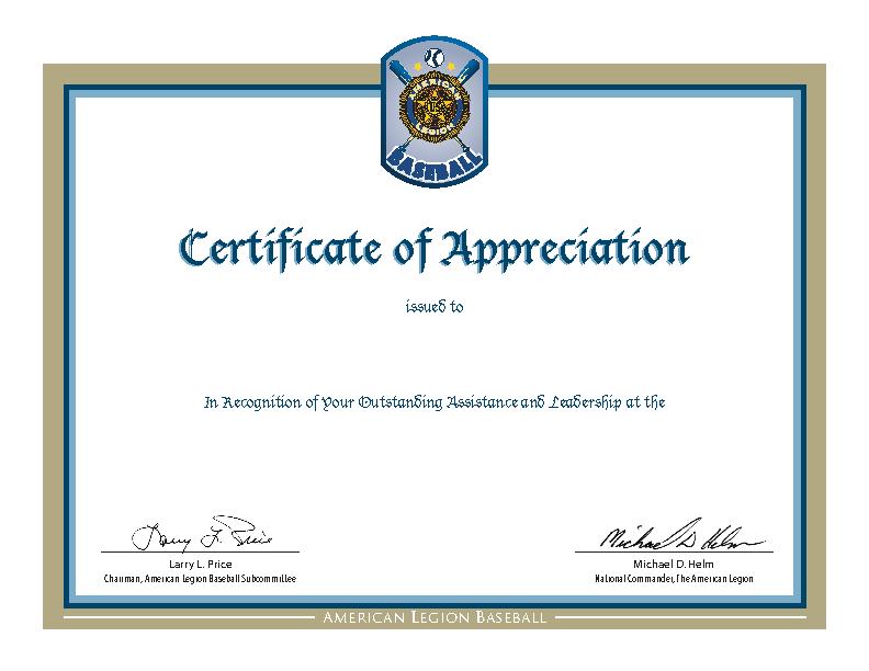 Baseball Certificate Of Appreciation