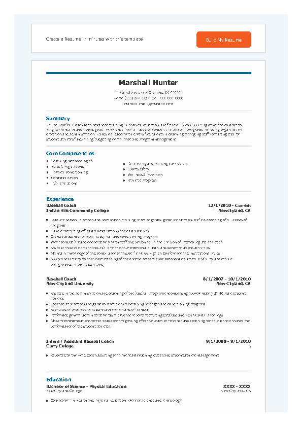 Baseball Coach Resume1