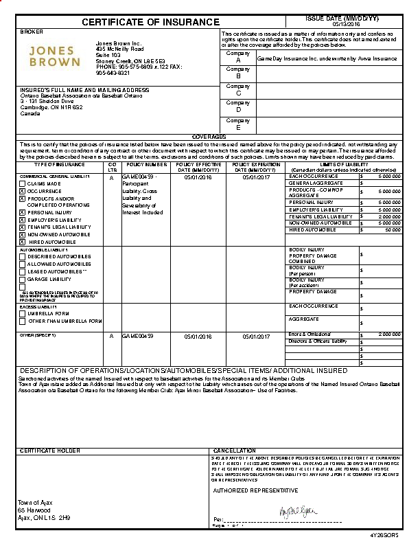 Baseball Player Insurance Certificate Template