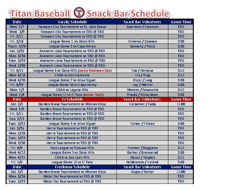 Baseball Snack Schedule Template