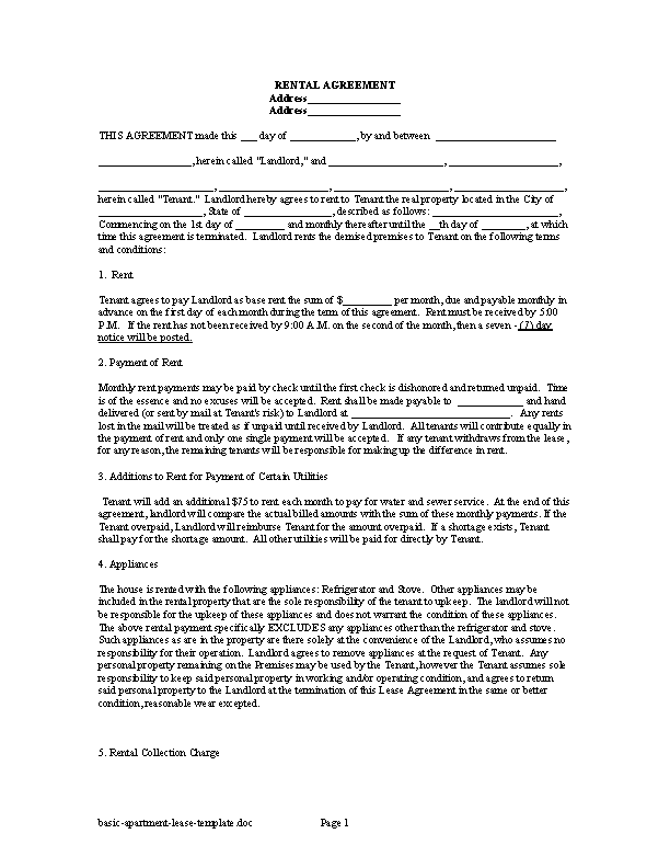 Basic Apartment Lease Template