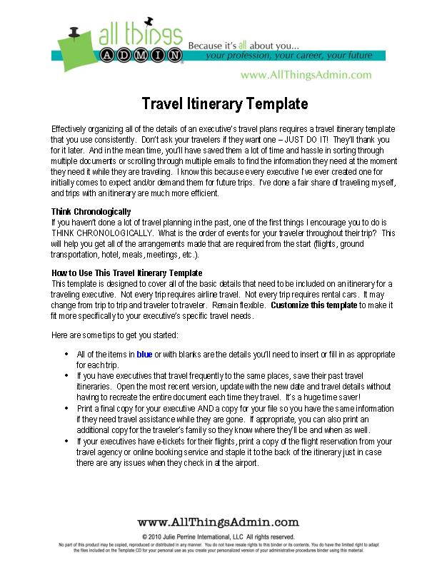 Basic Flight Itinerary Template