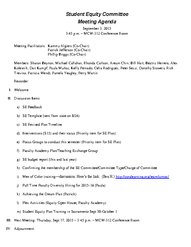 Basic Formal Meeting Agenda Sample