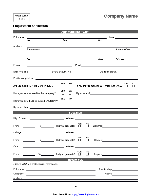 Basic Job Application 1
