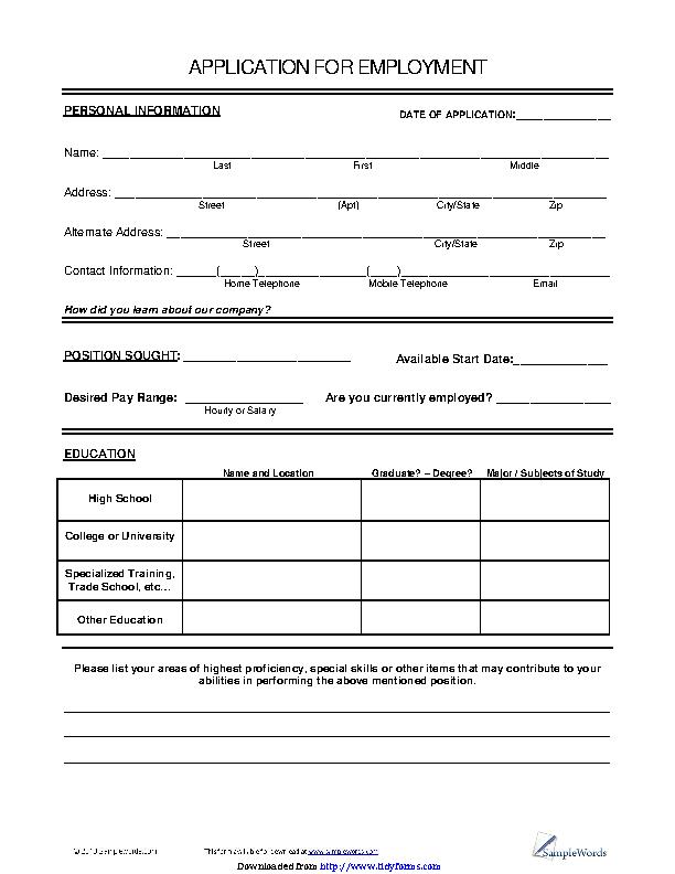 Basic Job Application 2