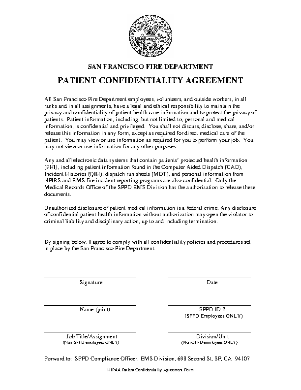 Basic Patient Confidentiality Agreement