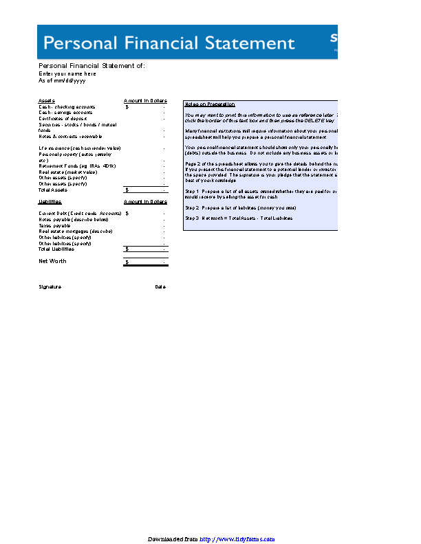 Basic Personal Financial Statement Form