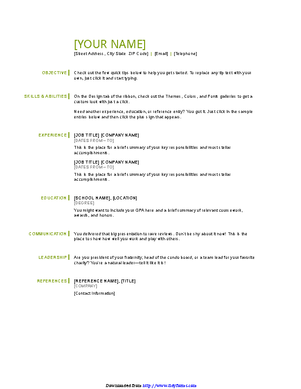 Basic Resume Template 1