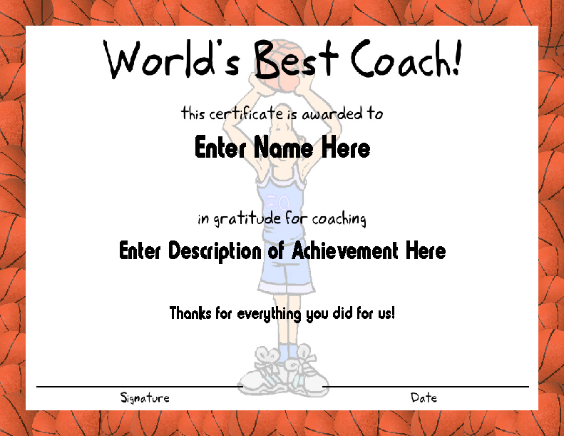 Basketball Fame Coach Certificate Template