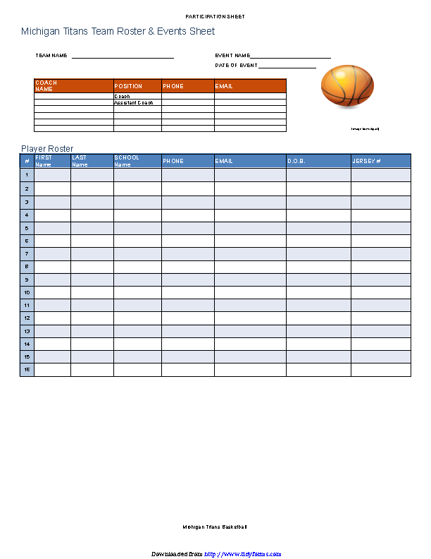 Basketball Lineup Template