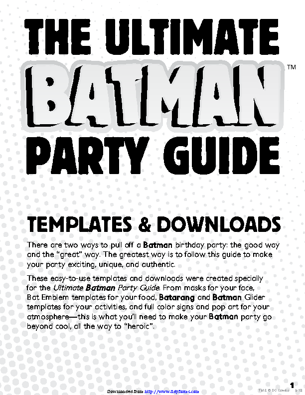 Batman Party Mask Template