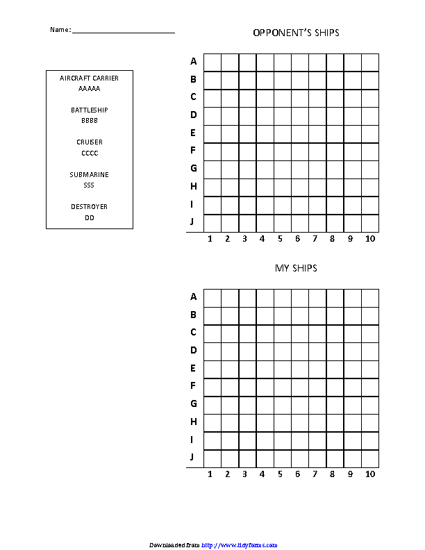 Battleship Game Template Walle
