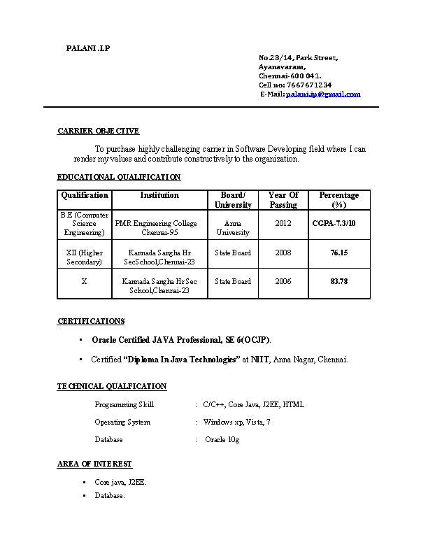 Be Freshers Resume Format Free Download