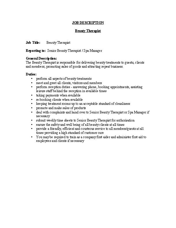 Beauty Therapist Job Description