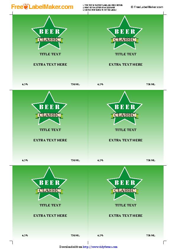 Beer Label Template 1